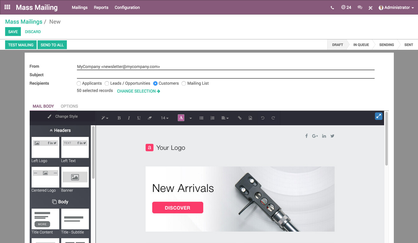Odoo Marketing via e-mail