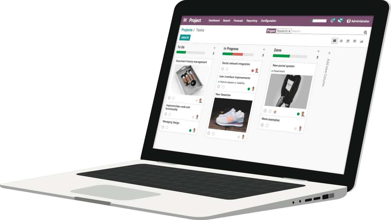 Odoo - Project App - Tasks Dashboard
