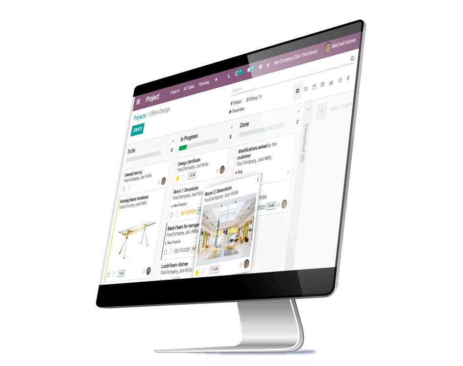 Odoo - Project App - Taken dashboard